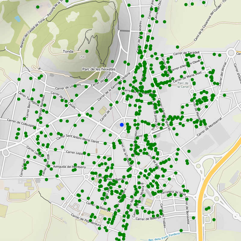 Map of Guifinet installs in a Catalonian town